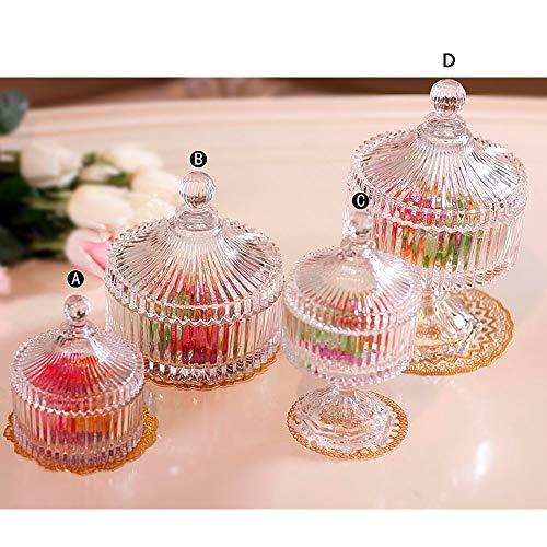 KK Zachary Cristalino de la Manera Europea Glass Candy Jar Jar Almacenamiento con Tapa Decoración Creativa Alto Caja del Caramelo de la Boda de decoración (500-800ML) (Color : A)