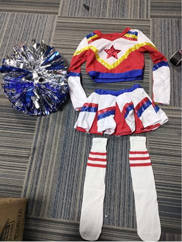 Tacobear Costume de Cheerleader pour Fille Déguisement de Pom-pom Girl avec Pompons et Chaussettes Uniforme de Cheerleader Carnaval Halloween pour Enfants Filles 3 4 5 6 7 8 9 10 11 Ans (S, 5-6 Ans)