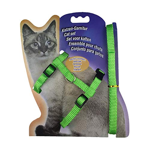 Correa para mascotas, Nylon Pet Lead Leash Arnés Gatito Correa Correa de Seguridad Cuerda Ajustable Collar de Perro - Verde