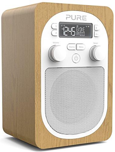 Pure Evoke H2 Digitalradio (DAB+, DAB, UKW, tragbares Internetradio, Sleep-Timer, Weckfunktion, Countdown-Timer, 20 Senderspeicherplätze, AUX), Eiche