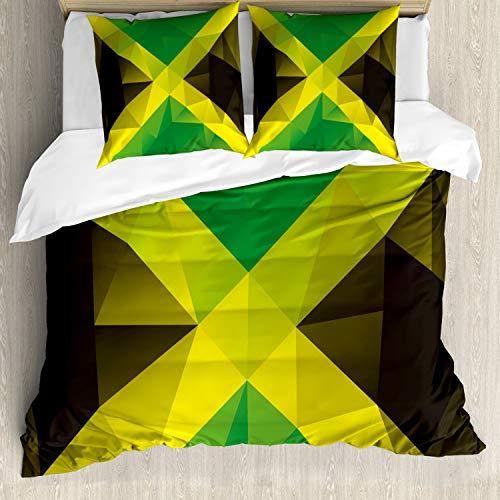 ABAKUHAUS jamaicano Funda Nórdica, Bandera Polígono Triángulo, Decorativo, 3 Piezas con 2 Funda de Almohada, 155 x 220 cm, Amarillo Verde Verde Marrón
