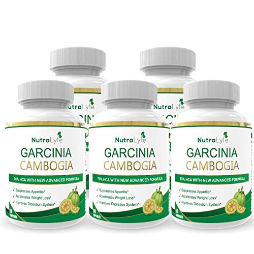 NutraLyfe Garcinia Cambogia Extract with Green Tea   Organic, Pure, Natural & Herbal 70% HCA   800 Mg Capsules - 60 Capsules (Pack of 1)