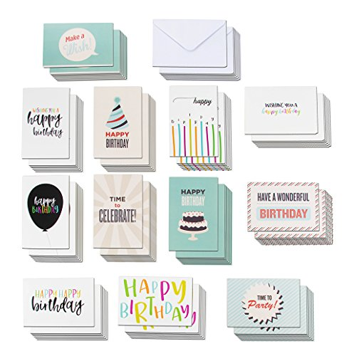 120 Happy Birthday Cards Assortment with Envelopes, 12 Colorful Designs with Party Hats, Balloons, Candles, Cake, Bulk Box Set, 4 x 6 Inches