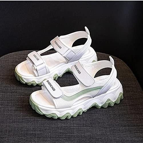 DZQQ Sandalias Gruesas de Verano 2021 para Mujer, Sandalias con Plataforma de Moda, Sandalias de cuña Informales para diseñadores para Mujer, Sandalias Deportivas de Marca Femenina