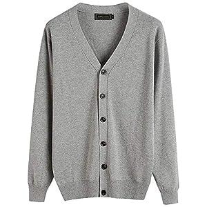 (ハバー)Habor カーディガン メンズ ニット Vネック 長袖 綿 ベーシック 無地 薄手 セーター L
