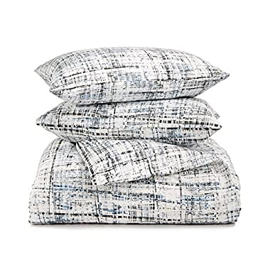 Calvin Klein Home City Plaid, Queen Comforter Set, Storm, 3 Piece