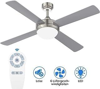 132CM Ventilador de techo de iluminación YUNLIGHTS, ventilador de techo de 52 pulgadas, con iluminación y control remoto, ventilador de techo giratorio reversible de 6 velocidades, con iluminación