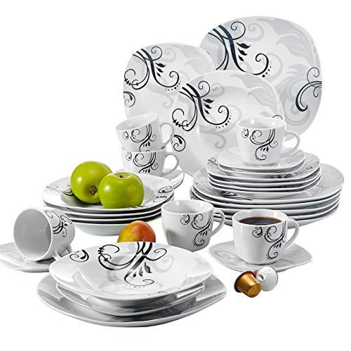 VEWEET Tafelservice 'Zoey' aus Porzellan 30 teilig | Kombiservice beinhaLtet Kaffeetassen 175 ml, Untertasse, Dessertteller, Speiseteller und Suppenteller| Komplettservice für 6 Personen …
