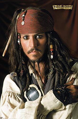 Trends International Disney Pirates: Black Pearl - Johnny Depp Portrait Wall Poster, 14.725' x 22.375', Premium Unframed Version