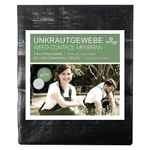 Prolifiqs Anti-Unkrautgewebe I Gartenvlies Reissfest & Wasserdurchlässig I Unterbodengewebe gegen Unkraut I Bändchengewebe UV stabil 100g/m² (2 * 5m)