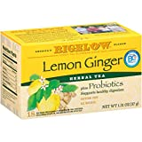 Bigelow Lemon Ginger with Probiotics, 18 Count Box, Pack of 6 Boxes, 108 Tea bags Total