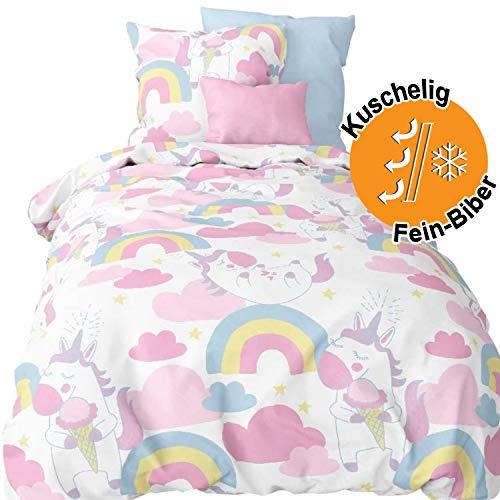 Aminata Kids Biber Kinderbettwäsche Einhorn-Motiv Mädchen 100x135 cm + 40 x 60 cm, Baumwolle mit Reißverschluss, Kinder-Bettwäsche-Set mit Unicorn-Motiv ist warm, kuschelig, Regenbogen, Flanell