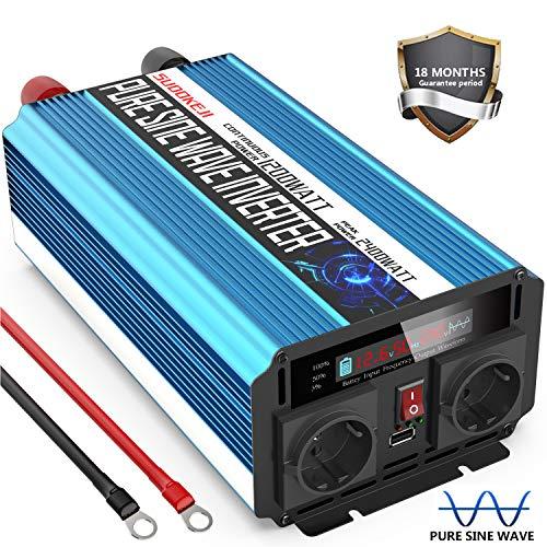 SUDOKEJI 1200W Reiner Sinus Wechselrichter 12v auf 230v Spannungswandler mit LCD-Bildschirm & Dual EU Steckdose & 2.4A USB - Spitzenleistung 2400 Watt Pure Sine Wave Inverter
