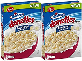 Hostess Donettes Powdered Mini Donuts Cereal by Post, 18 oz. (Pack of 2)