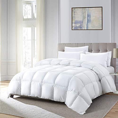 DOWNINNER King Size Down Alternative Comforter,- Brushed Microfiber Cover,Quilt with Corner Tab Hypoallergenic Plush Mircofiber Comforter Duvet Insert (106x90Inches,White)