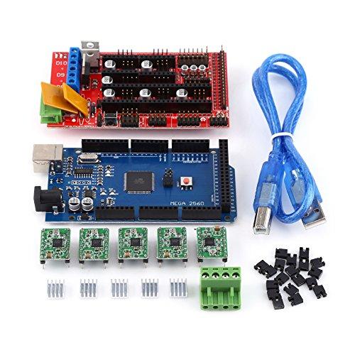 RAMPS 1.4 Regulador + MEGA2560 Tablero + 5pcs Soldered A4988 Stepper Motor Drivers + 5pcs Disipadores de calor + 19pcs Puentes con cable del USB para el kit de la Impresora de RepRap 3D