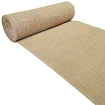 Burlap Table Runner - 14  Wide X 12 Yards  432 inches  Extra Long Jute Burlap Roll-Natural Rustic Burlap Fabric-No FRAY Burlap Runner with OVERLOCKED-Finished Sewn Edges for Country Wedding Decoration