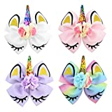 inSowni 4 Pack 6' Big Large Glitter Sequin Bow Unicorn Alligator Hair Clips Barrettes Hairbow for Baby Girls Toddlers Kids Teens