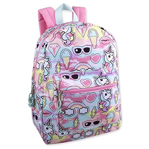 Trail maker Girls#039 All Over Printed Backpack 17 Inch With Padded Straps Unicorns