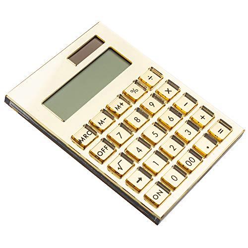 E&O Acrylic Calculator,Solar Power,12 Digits LCD Display,Modern Elegant Desk Accessory,Office Home Electronics,Business Present Ideas (Mirror Gold)……