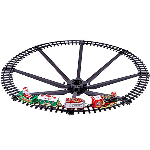 Christmas Toy Electric Rail Car, Christmas Tree Decoration, Small Train Toy, Christmas Train Set-around the Tree Xmas Home Decoration Festive Light Up Realistic Sound Battery Operated, Multi
