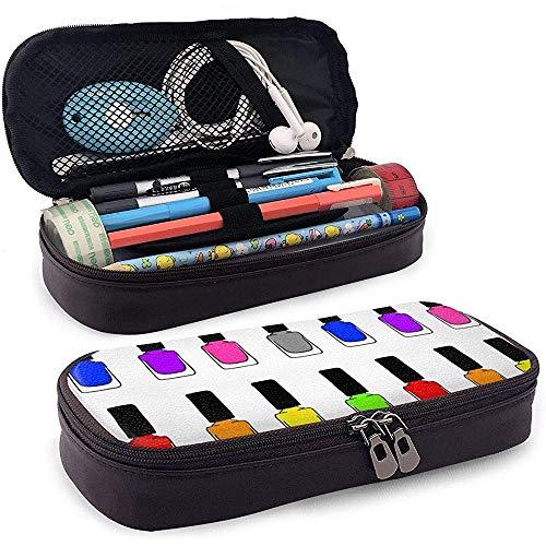 Regenboog nagellak etui grote capaciteit potloodzakje duurzame make-up pen tas met dubbele ritssluiting penhouder voor school en kantoor