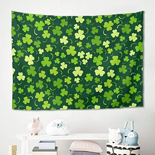 Tapiz para colgar en la pared, diseño de trébol verde de San Patricio, toalla de playa, esterilla de yoga, cómoda para salón, dormitorio, 100 x 150 cm, color blanco