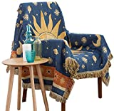 amorus Throw Blanket for Sofa Bed Chair with Decorative Tassels, Reversible Tapestry Couch Cover 50' X 70' - Sun Moon Stars