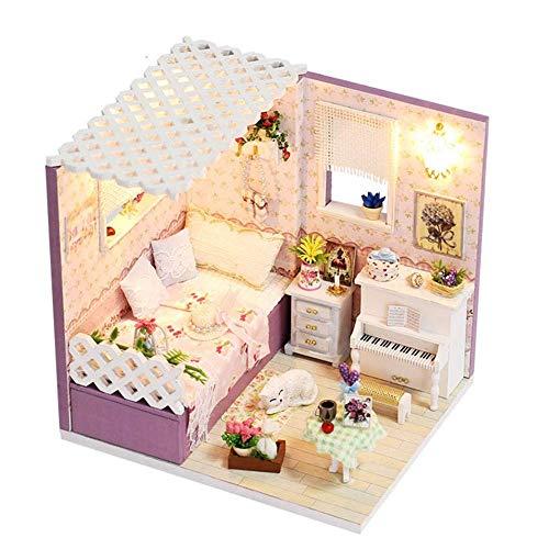 NBVCX Wohnaccessoires DIY Miniatur Puppenhaus Kit Puppenhaus DIY Miniatur Haus Modell LED Möbel Kit Mit Staubschutz (Liebe In Budapest) Spaß Bildung und perfekte Dekoration