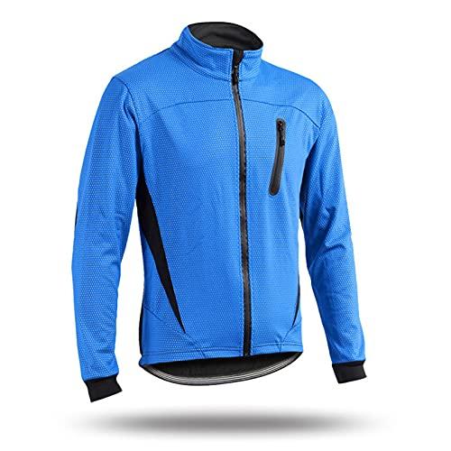 SFITVE Giacca da Ciclismo Uomo Donna,Giacche da MTB Bici Invernale,Riflettente Termico Softshell Giacca da Bicicletta,Antivento Impermeabile Mantellina Ciclismo(Size:XXL,Color:Blu)