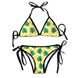 Vidmkeo 3D Flower Print Abstract Modern Trendy Style Hipster Custom Sexy Beach Swimwear Women's Triangle Bralette Bikini Set of 2