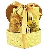 Gloss - Caja de Regalo en forma de Corazòn - Corazòn dorado con flores blancas y fragancia de almizcle - 6 pzs