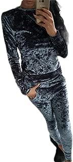 Womens Velvet Long Sleeve Sweatshirt Jogger Pants Two Piece Set Tracksuit