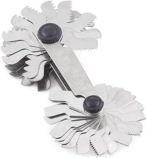 Galga de Roscas Metrico Herramienta de Medicion, Herramienta de medición de la inclinación del tornillo de acero inoxidable (Métrico + Imperial52pc)