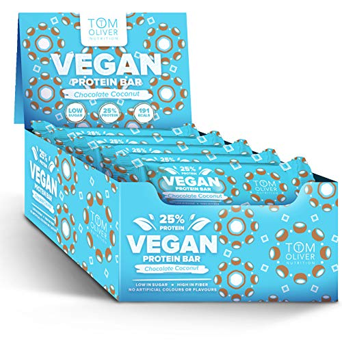 Tom Oliver Nutrition - Vegan High Protein Bars - Pack of 20 (Chocolate Coconut)