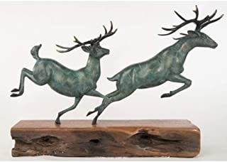Admirable Signed Original Williams Limited Edition Two Running Stag Reindeer Bronze Statue