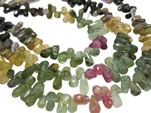 World Wide Gems Cuentas de piedras preciosas sandía turmalina Briolettes cuentas, Teardrops facetadas Briolettes 4