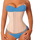YIANNA Women's 17 Steel Boned Latex Sports Long Torso Waist Trainer Corsets for Weight Loss 3 Hook Rows, Size M (Beige)
