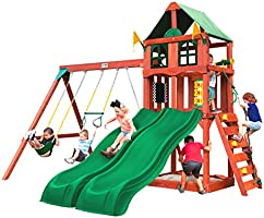 Gorilla Playsets 01-1057 Playmaker Deluxe Wooden Swing Set with Vinyl Canopy Roof, Dual Wave Slides, and Rock Climbing...