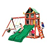 Gorilla Playsets 01-1057 Playmaker Deluxe Wooden Swing Set with Vinyl Canopy Roof, Dual Wave Slides, and Rock Climbing Wall, Redwood Stained Cedar (Amazon Exclusive)