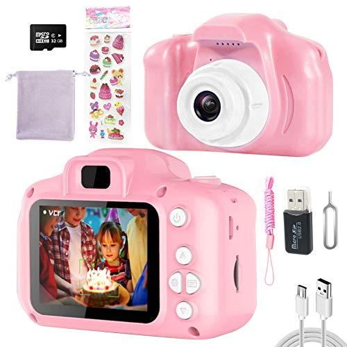 Macchina Fotografica Bambini Giocattoli Regalo per Ragazzi Ragazze 3-10 Anni,Videocamera Digitale Fotocamera per Bambini,Schermo HD da 2 Pollici 1080P,32 GB TF Card(Rosa)