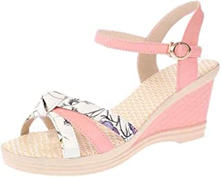 Fulision Women's Summer high-Heeled Wedge Sandals Buckle Fish Mouth Sandals