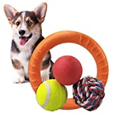 Dog Pet Interactive Ball Toys Set Chew Fetch Chase Play Puzzle for Puppy Small and Medium Dog Breed Clean Teeth Rope Rubber Bounce IQ Training FetchingTennis Ball Float Swim Ring Outdoors 4 Packs