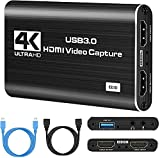 IPXOZO 4K Capture Card, 1080P HDMI Audio Video Capture Card USB 3.0 Capture Adapter Black Portable Video Converter for Gaming Streaming Live Broadcast Video Recording,Support PS4 Xbox Camcorder