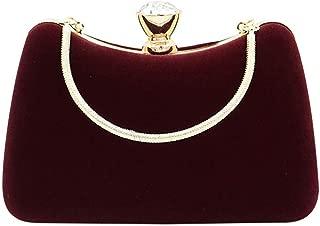 Women Evening Bag Velvet Purse - Handbag with Detachable Chain for Wedding Cocktail Party