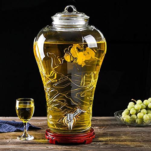 5/8/10 l drankdispenser voor verse dranken, sapdispenser met glas, lekvrij, spigot, houten basis, gemakkelijk te reinigen, voor lemonade/thee/koud water ABS Spigot-wood base 10 liter.