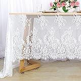 Mantel de encaje blanco de 150 x 300 cm, mantel de lino con flores blancas para fiestas de boda,...