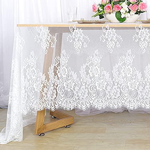 Mantel de encaje blanco de 150 x 300 cm, mantel de lino con flores blancas para fiestas de boda, mantel de encaje blanco para exteriores