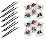 12 Pirate Skull & Crossbones Pencils and 144 Pirate Themed Tattoos ~ Halloween Party Favors Giveaways Goody Bagss