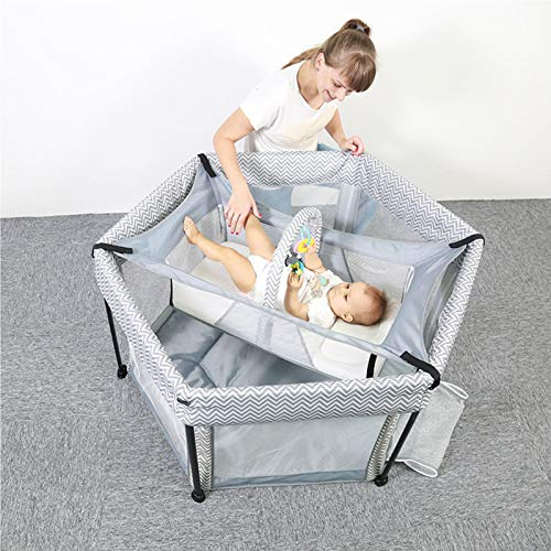 IPRE Portable Mesh Playpen Bed Dual Purpose Baby Toddler Crawling Hexagonal Folding Crib for Boys Girls Babies, Portable Fence Play Yard Comes with Hammock and Toy Rack
